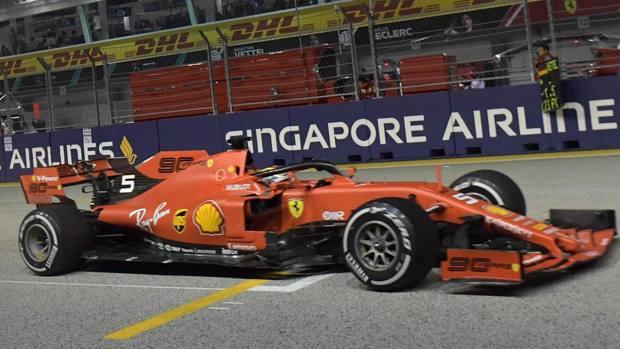 Sebastian Vettel, quinta vittoria personale a Singapore, la prima del 2019. Afp