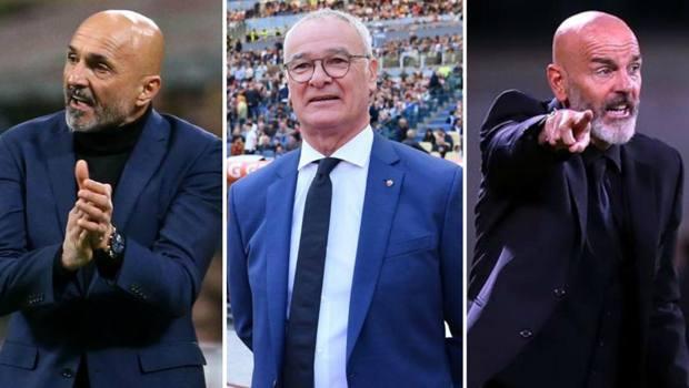 Da sinistra Luciano Spalletti, Claudio Ranieri e Stefano Pioli. Ansa/LaPresse/Getty