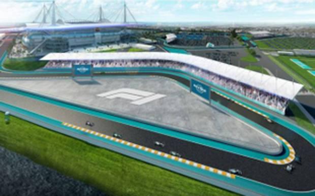 Una proiezione del circuito nell'area dell'Hard Rock Stadium di Miami