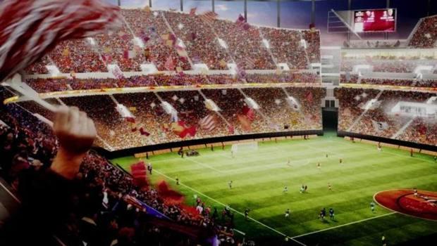 Uno scatto del rendering del progetto per il nuovo stadio della Roma