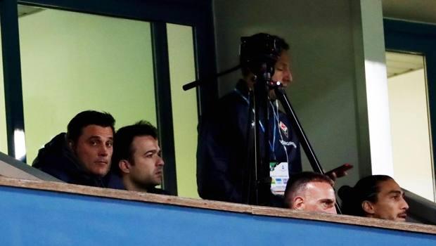 Montella in tribuna con Ribery