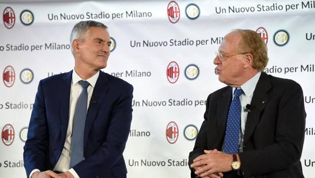 L'ad dell'Inter Antonello e il presidente del Milan Scaroni