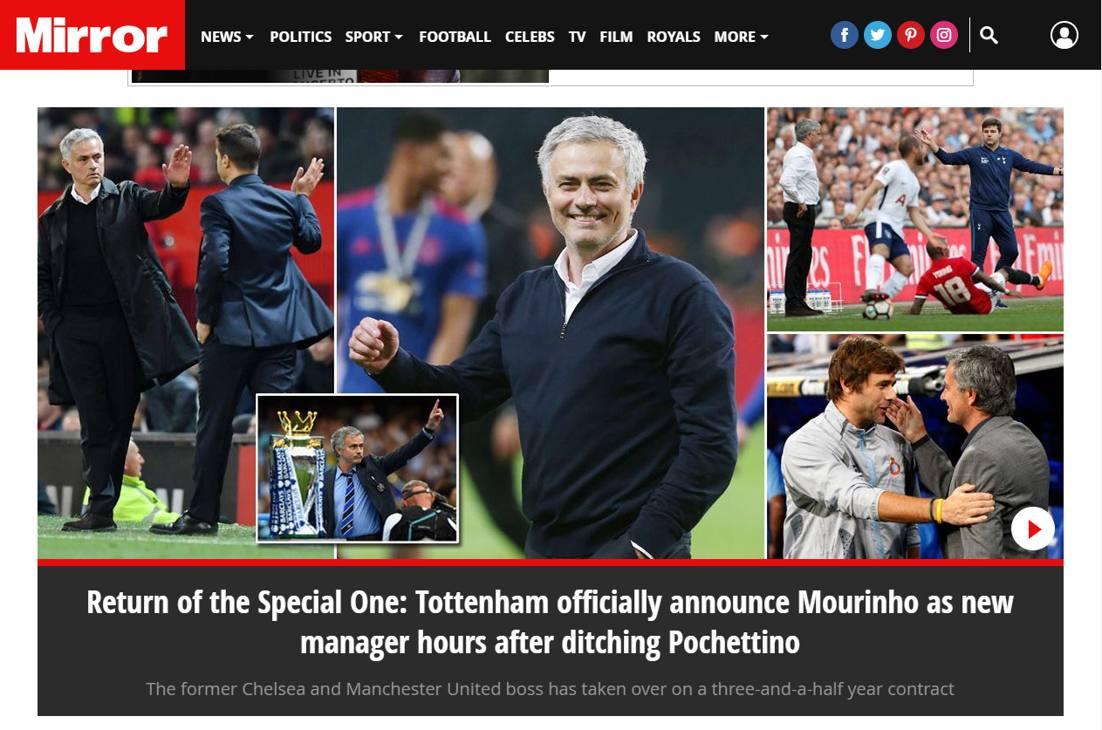 """Il Mirror titola: """"Il ritorno dello Special One: il Tottenham ha ufficialmente annunciato Mourinho come nuovo allenatore ore dopo aver licenziato Pochettino"""""""