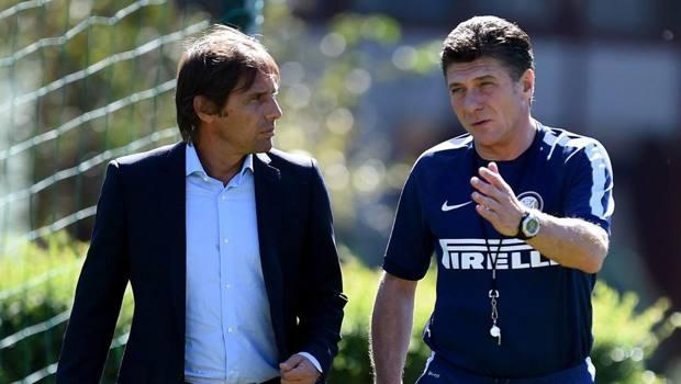 La visita di Conte, da c.t., all'Inter di Mazzarri. Getty