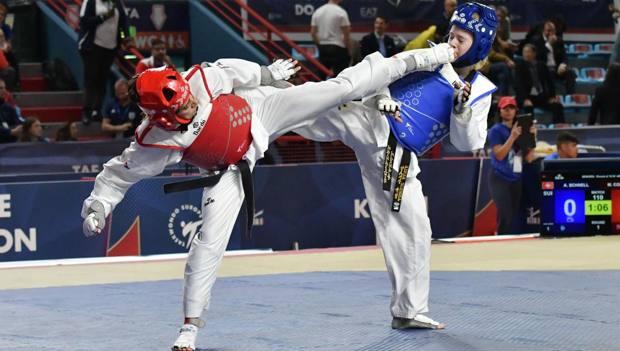 Martina Corelli in azione durante i Campionati Europei di Bari DI TONDO