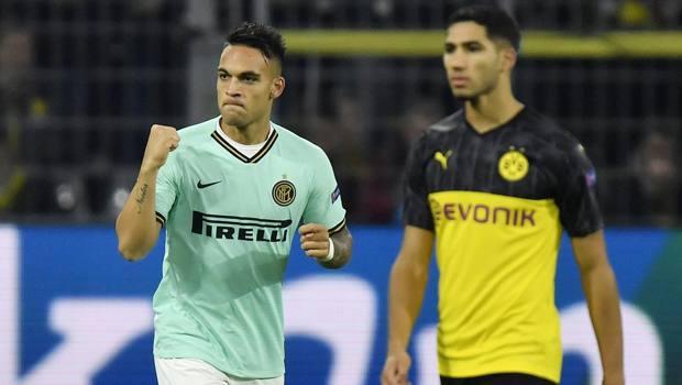 Lautaro Martinez dopo il gol a Dortmund