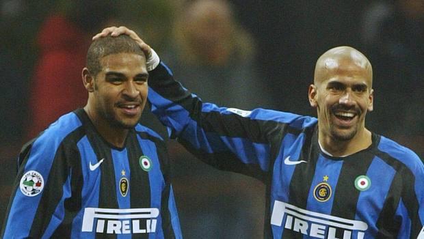 Veron in maglia Inter con Adriano