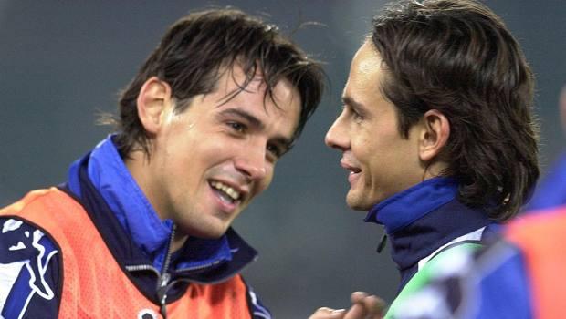 Simone e Pippo Inzaghi in maglia azzurra.