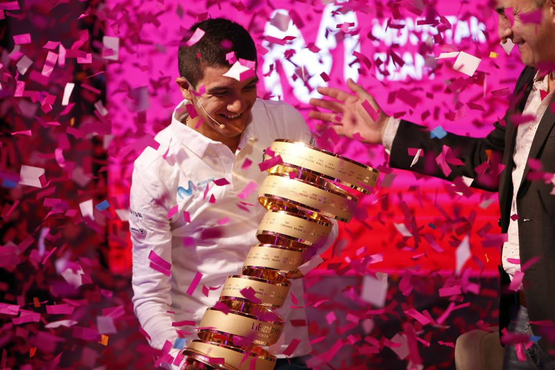 Richard Carapaz, vincitore del Giro. 2019