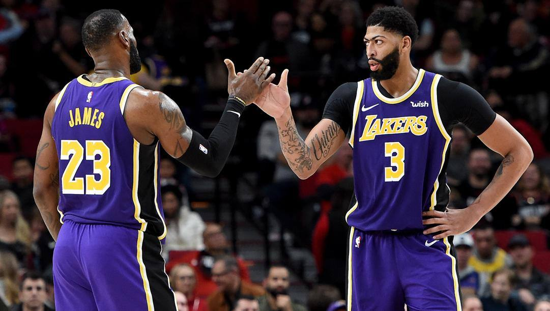LeBron James, 34 anni, e Anthony Davis, 26. Afp