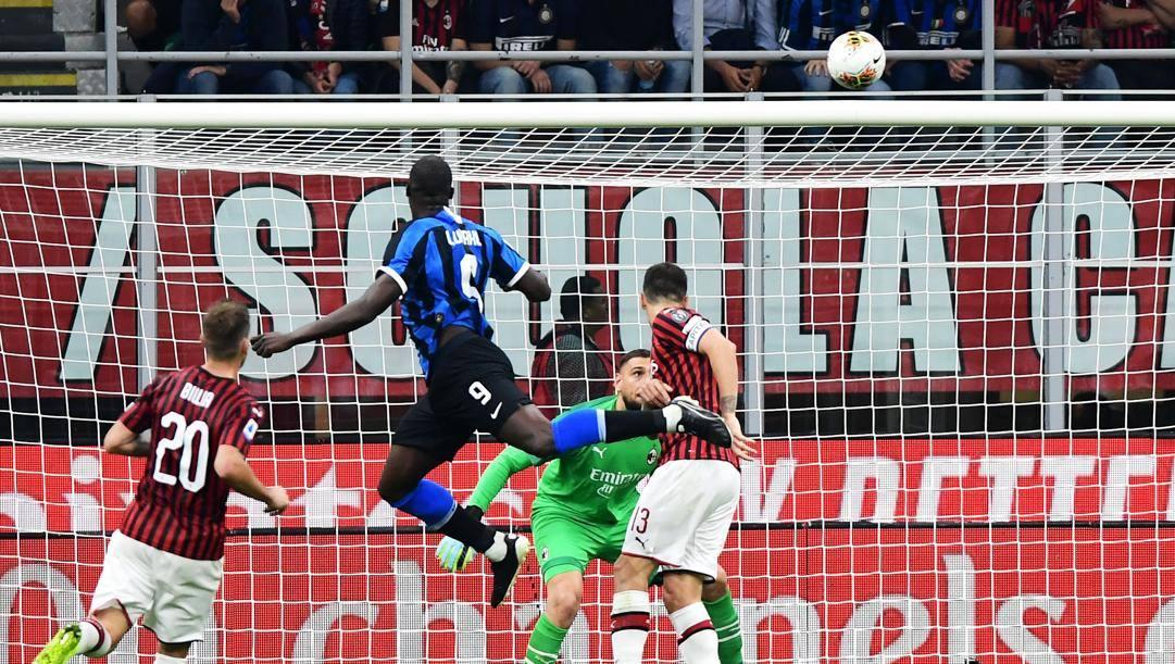 Romelu Lukaku e il gol del derby. Afp