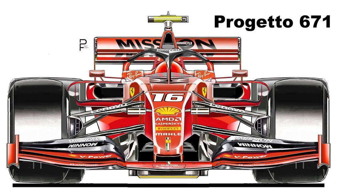 L'ipotesi sulla monoposto 2020 della Ferrari. Disegno Paolo Filisetti