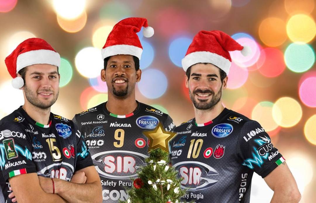 Il giocatori di Perugia in versione natalizia