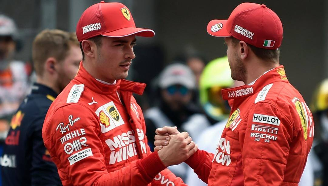 Charles Leclerc, 22 anni, e Sebastian Vettel, 32, piloti della Ferrari. AFP