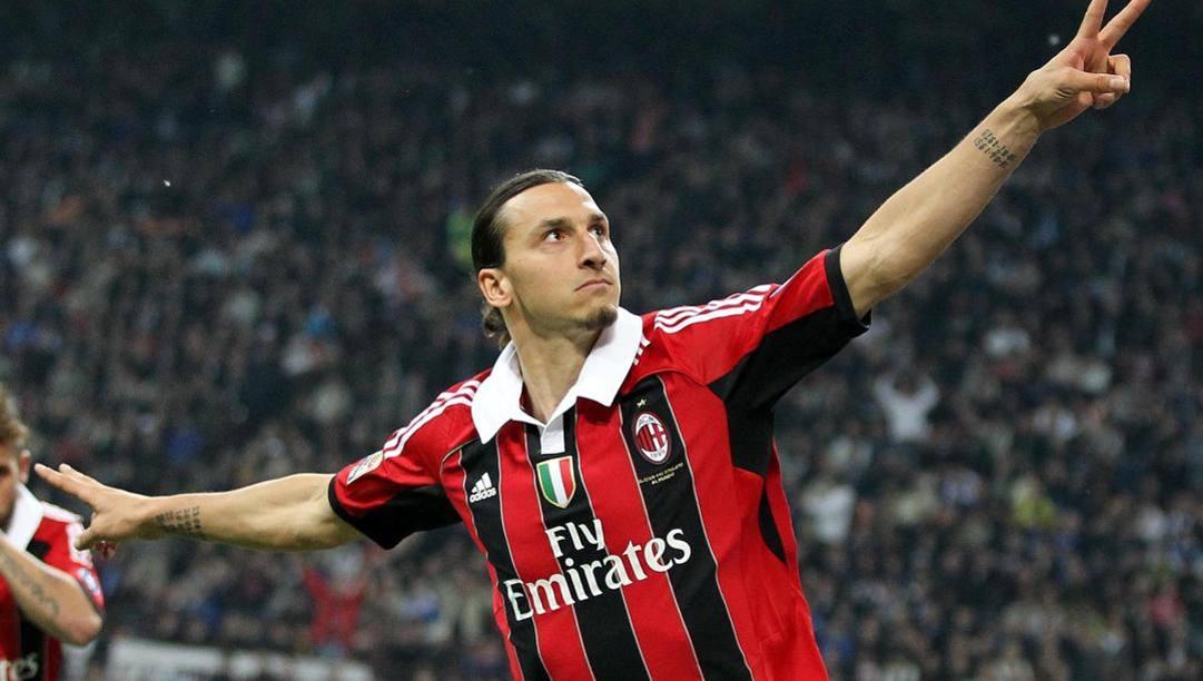 6 maggio 2012, l'ultima esultanza di Ibra in rossonero dopo una doppietta all'Inter. ANSA