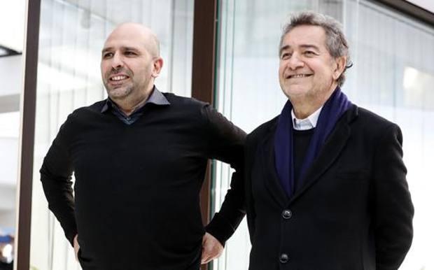 Pietro Valsecchi con Checco Zalone: ha prodotto tutti i grandi successi del comico pugliese. Ansa