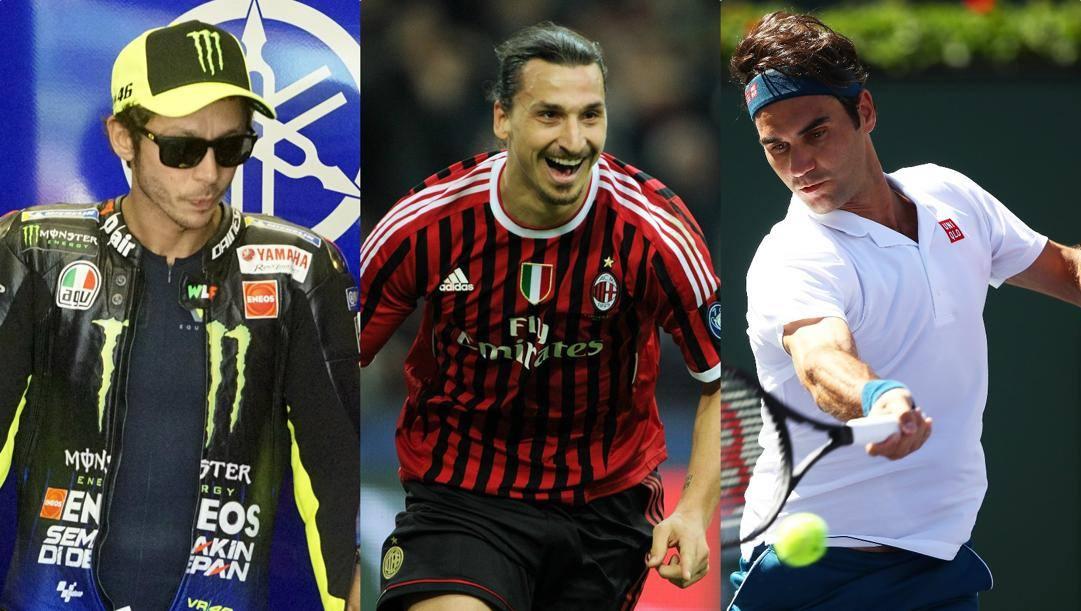 Valentino Rossi, Zlatan Ibrahimovic e Roger Federer