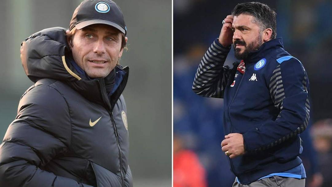 Antonio Conte e Gennaro Gattuso, tecnici di Inter e Napoli. GETTY