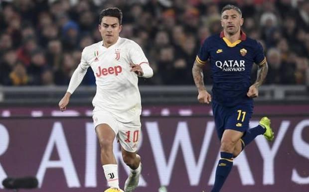 Paulo Dybala, 26 anni,, in azione contro la Roma