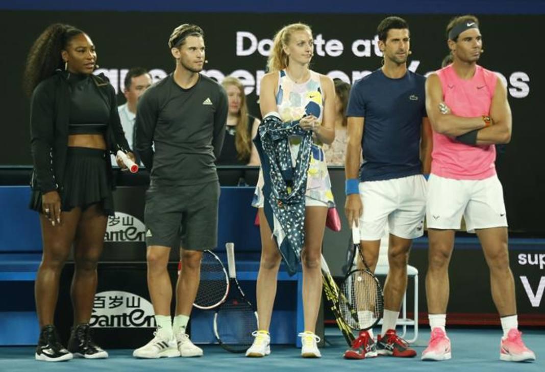 Serena Williams, Dominic Thiem, Petra Kvitova, Novak Djokovic e Rafael Nadal