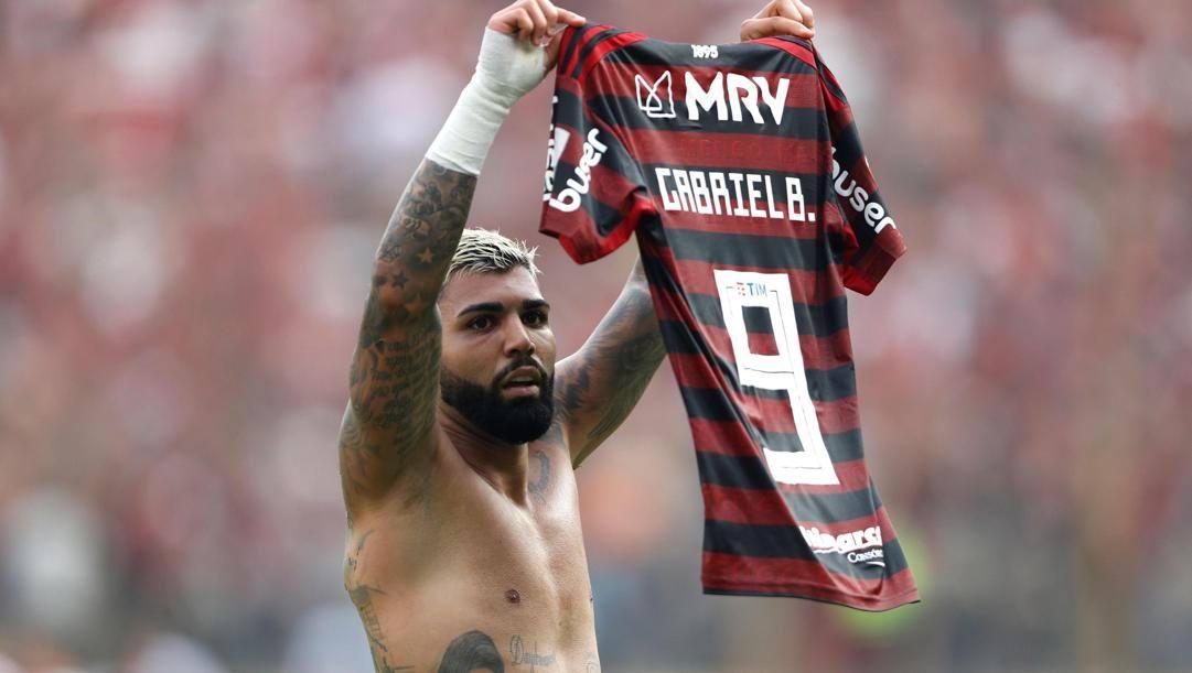 Gabriel Barbosa detto Gabigol con la maglia del Flamengo. Epa