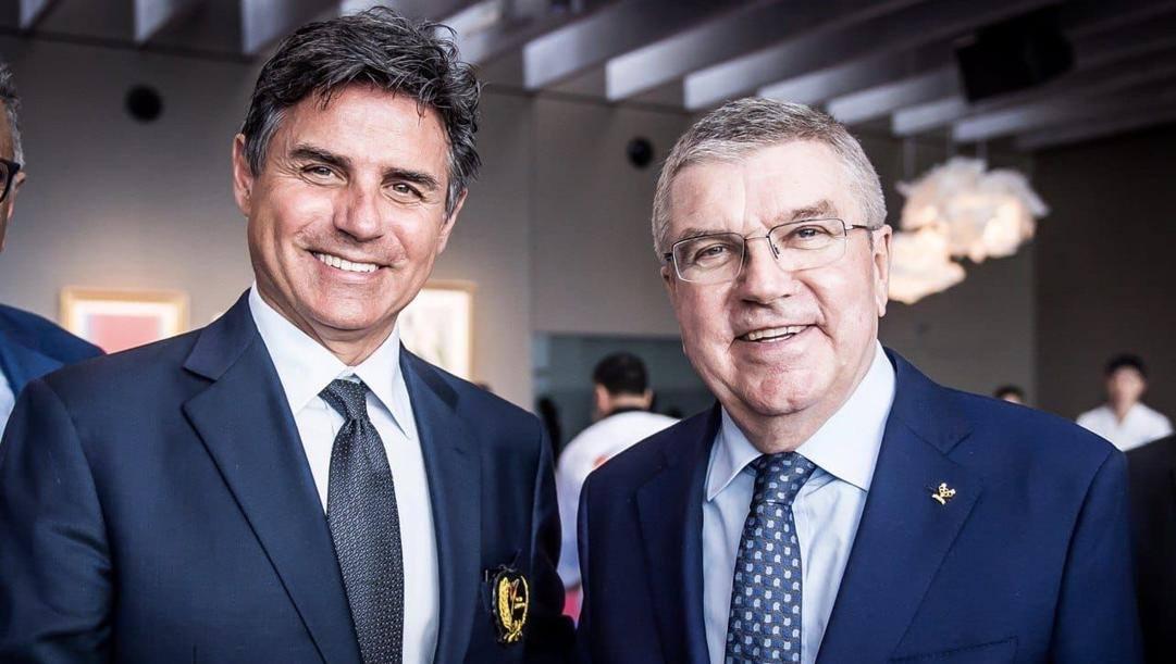 A sin. Angelo Cito, Presidente FITA, con il Presidente CIO Thomas Bach