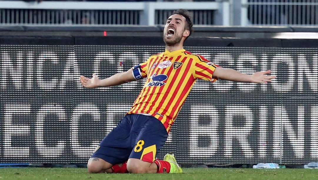L'esultanza di Marco Mancosu dopo il gol all'Inter. Getty