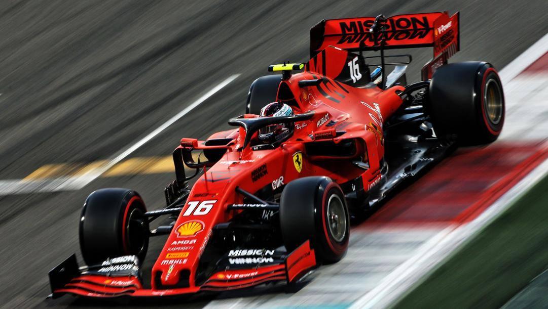 La Ferrari di Charles Leclerc nel GP di Abu Dhabi 2019. LAPRESSE