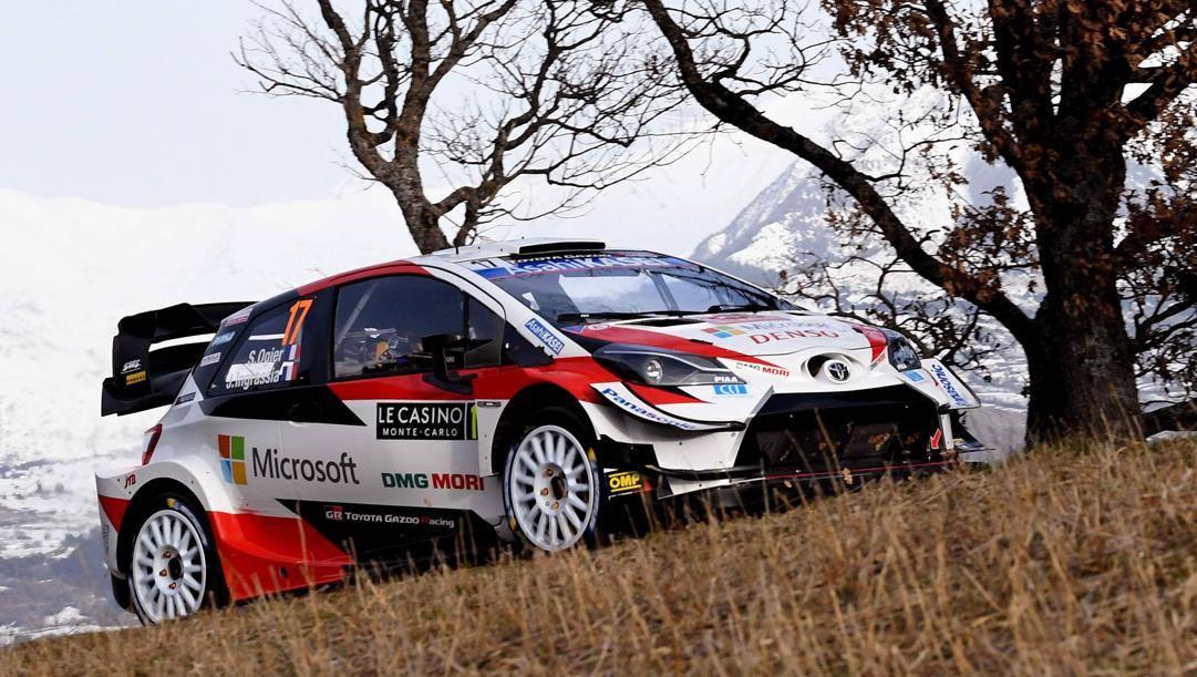 La Toyota di Sebastien Ogier, 36 anni, nello shakedown del Rally di Montecarlo 2020. AFP
