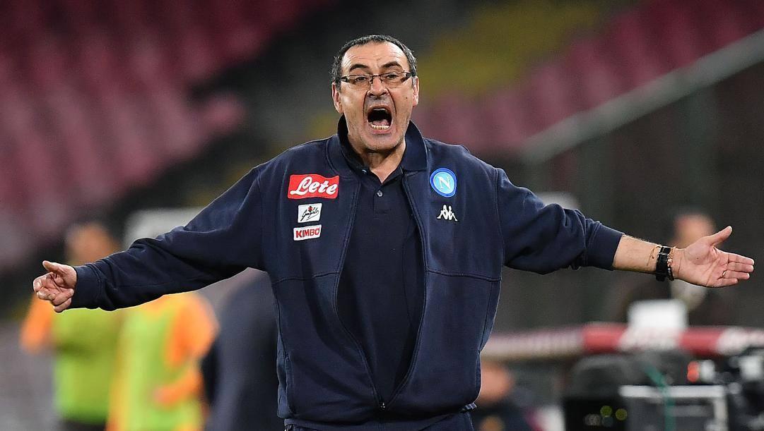 Maurizio Sarri ai tempi del Napoli. Lapresse