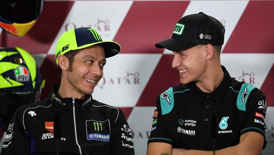 Valentino Rossi e Fabio Quartararo. Afp