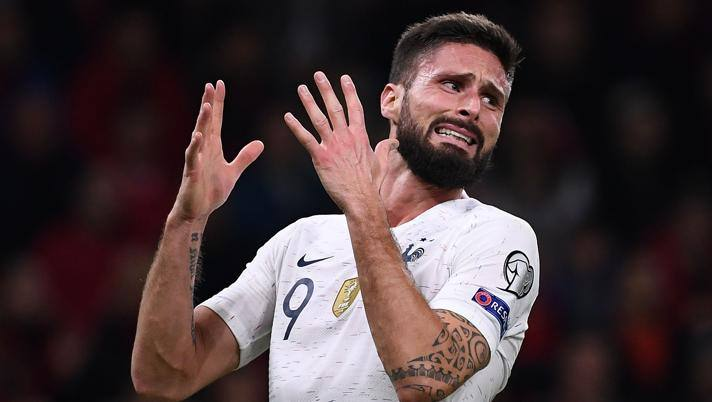 Olivier Giroud, 33 anni, attaccante del Chelsea. Afp