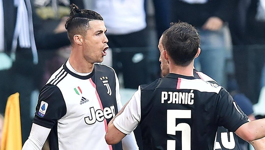 La festa bianconera dopo il primo rigore trasformato da Cristiano Ronaldo. Ansa