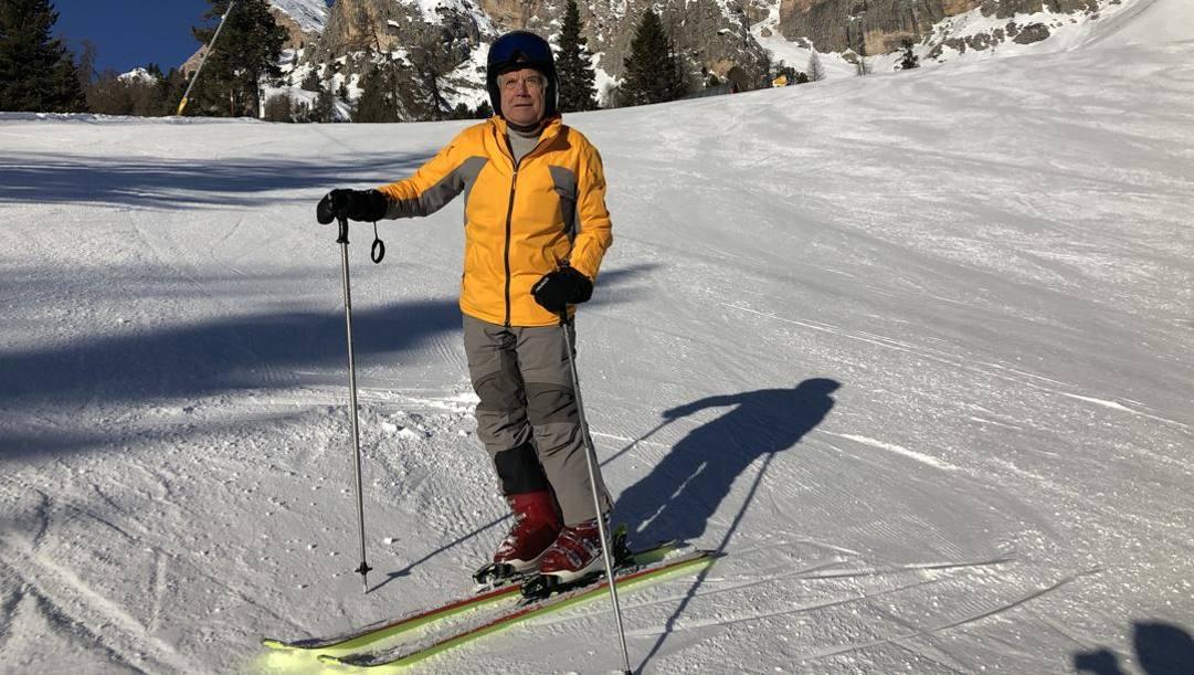 Giacomo Agostini, 77 anni, sulle nevi di Cortina