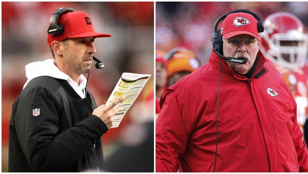 Da sinistra Kyle Shanahan coach di San Francisco e Andy Reid coach di Kansas City