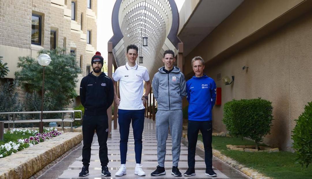 Da sinistra: Nacer Bouhanni, Niki Terpstra, Rui Costa e Enrico Gasparotto. Bettini