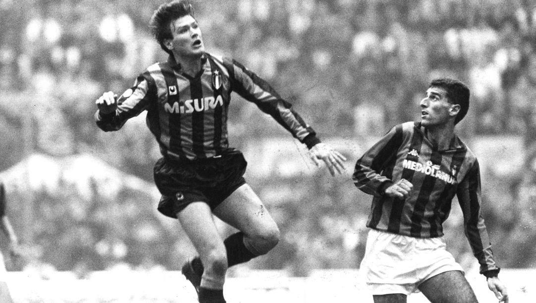 Aldo Serena e Mauro Tassotti, avversari nel derby del 1989, finito 0-0