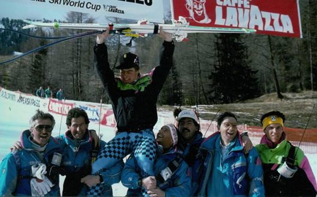 Kristian Ghedina, 20 anni, in trionfo 30 anni fa