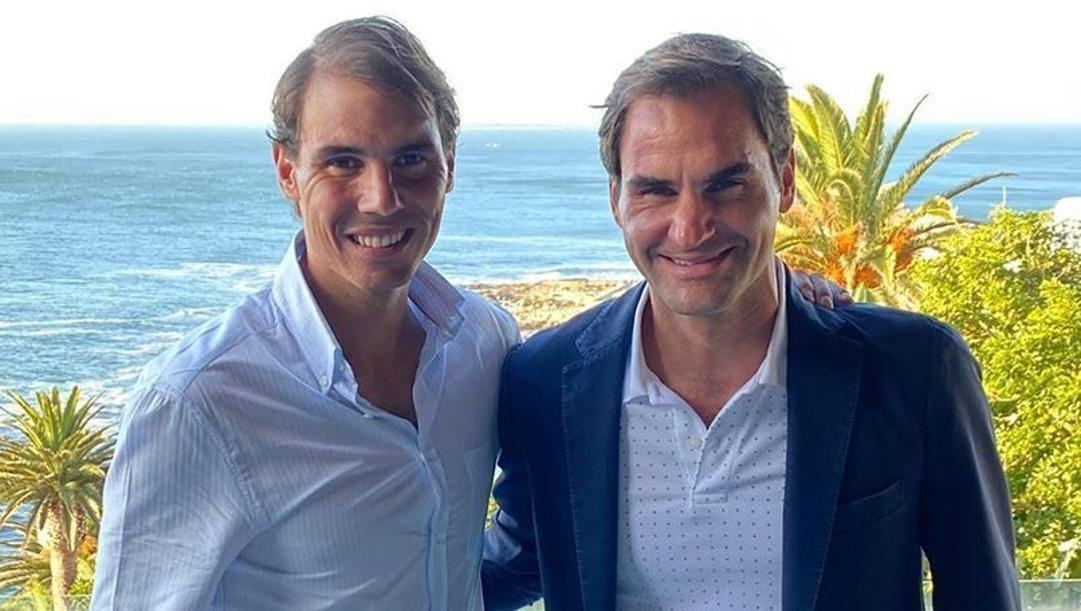 Rafa Nadal e Roger Federer insieme in Sudafrica per la sfida benefica di stasera. Foto dal profilo Instagram di @rafaelnadal