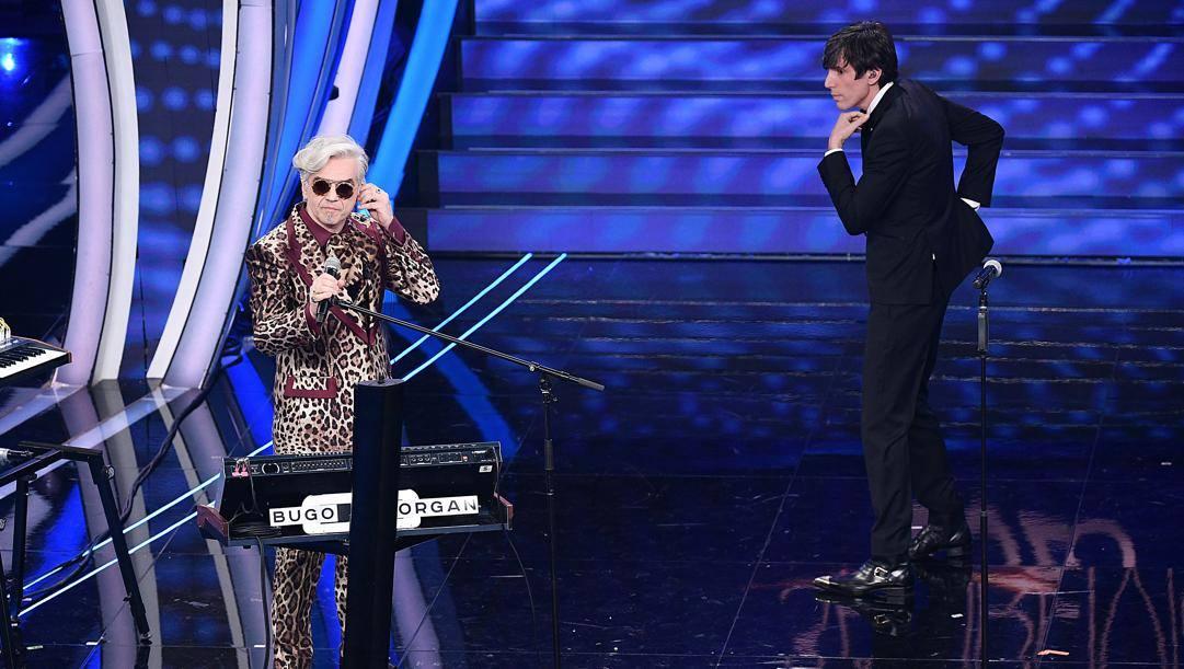Morgan e Bugo sul palco dell'Ariston. Lapresse