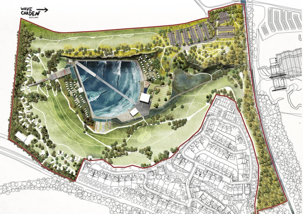 Scozia: l'azienda Wavegarden Scozia ha avviato i lavori per realizzare il primo wavepark di Scozia. Ecco il progetto, oggi realtà. (ph by Wavegarden Scotland)