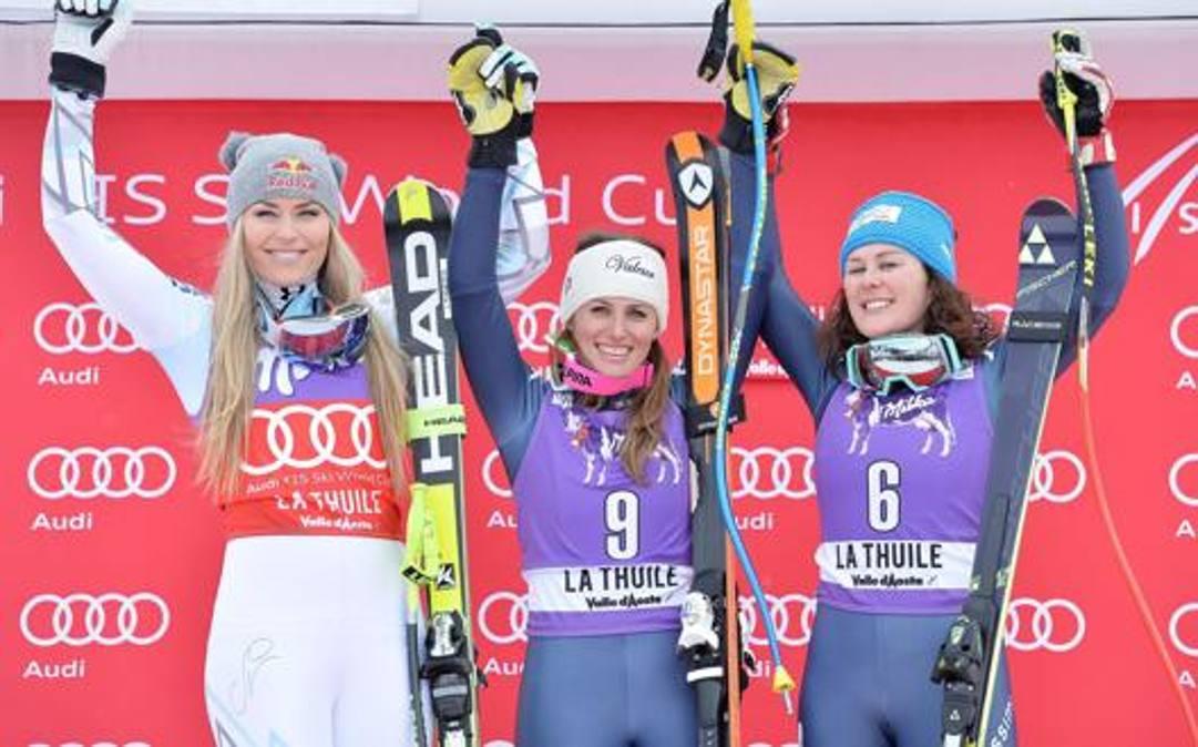 Lindsey Vonn, Nadia Fanchini e Dada Merighetti sul podio nel 2016. Ansa