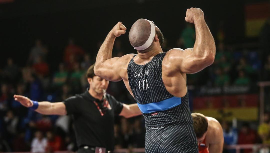 Nikoloz Kakhelashvili esulta dopo la semifinale