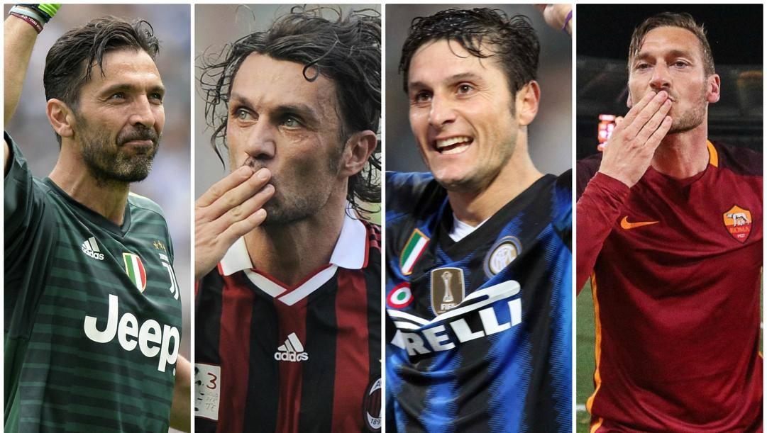 Buffon, Maldini, Zanetti e Totti.