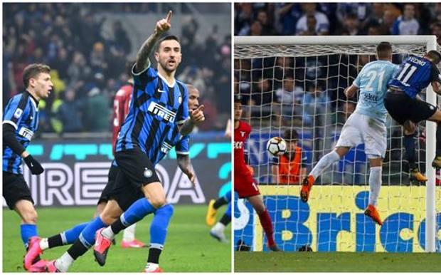 A sinistra, Vecino esulta dopo il suo gol nel recente derby e a destra, il colpo di testa alla Lazio che ha regalato la Champions all'Inter nel 2018