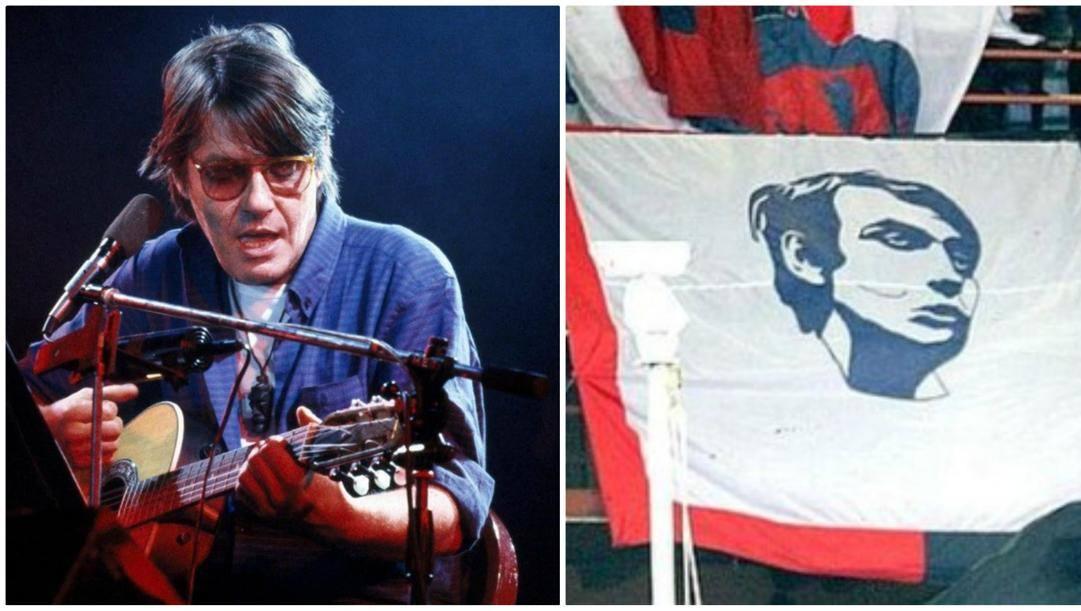 Fabrizio De André in concerto e una bandiera che lo omaggia che campeggia al Ferraris.