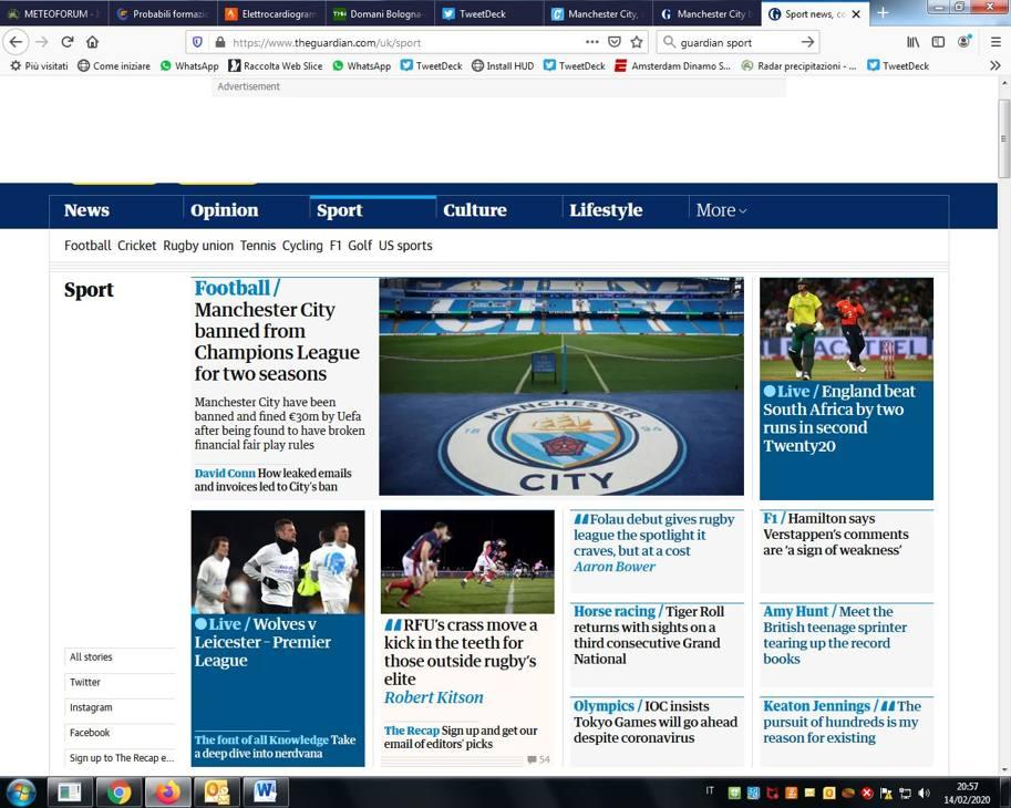 La sentenza sul Manchester City ha trovato ampio spazio su tutti i siti d'Europa, non solamente quelli inglesi. Qui il Guardian, tra i primi a dare la notizia.