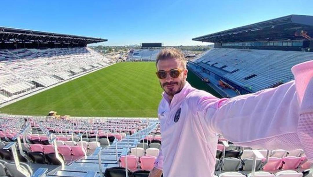 Il selfie postato su Instgram da David Beckham, 44 anni, nello stadio di Fort Lauderdale