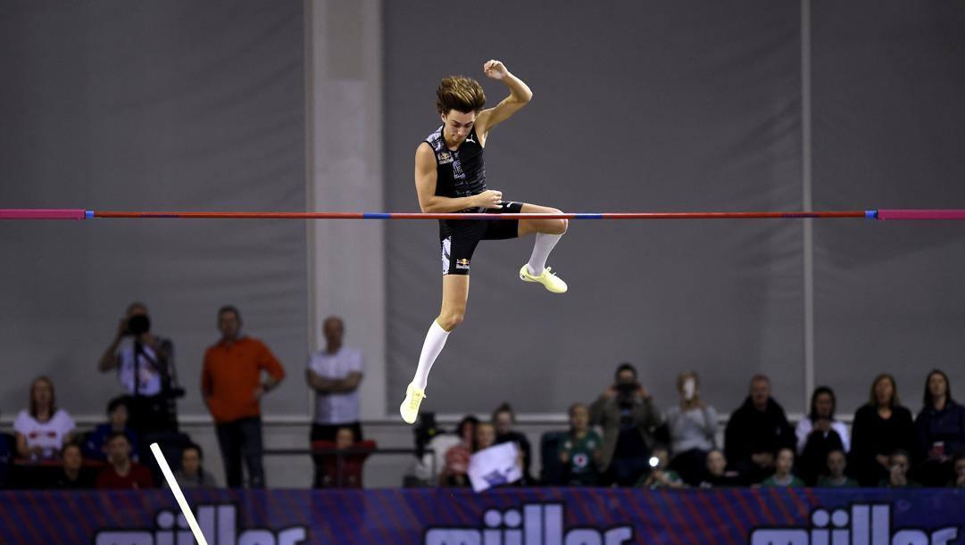 Il salto del record di Duplantis a Glasgow. Ap