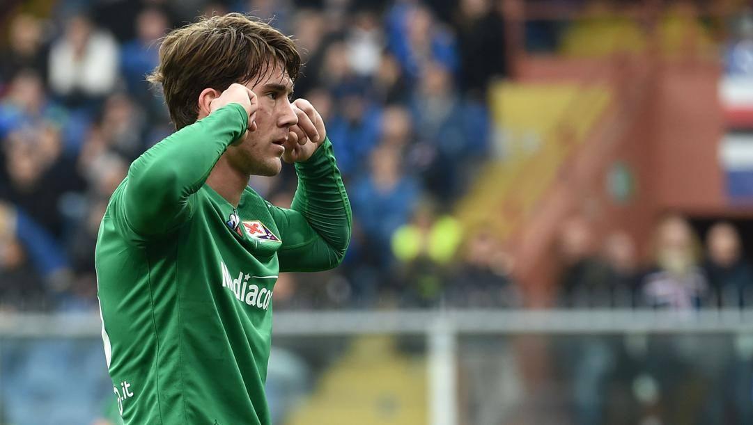 L'esultanza di Dusan Vlahovic dopo il rigore segnato contro la Samp. Getty